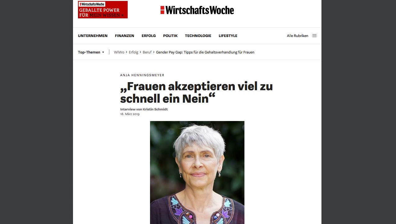 Interview in der Wirtschaftswoche mitAnja Henningsmeyer über Verhandlungsstrategien