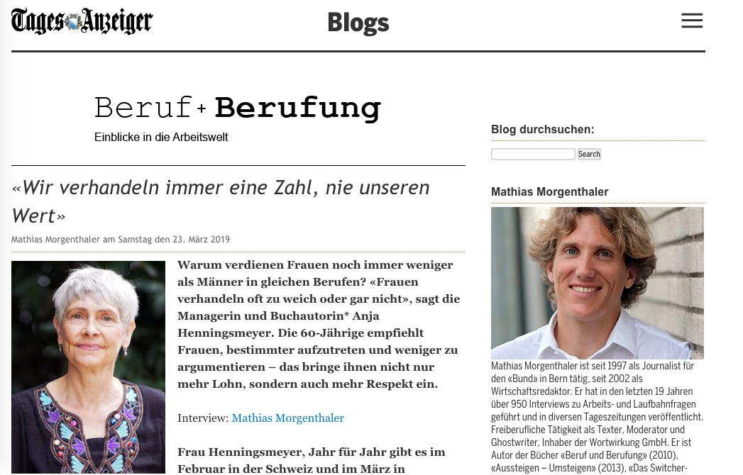Interview mit Anja Henningsmeyer im Schweizer Tages Anzeiger