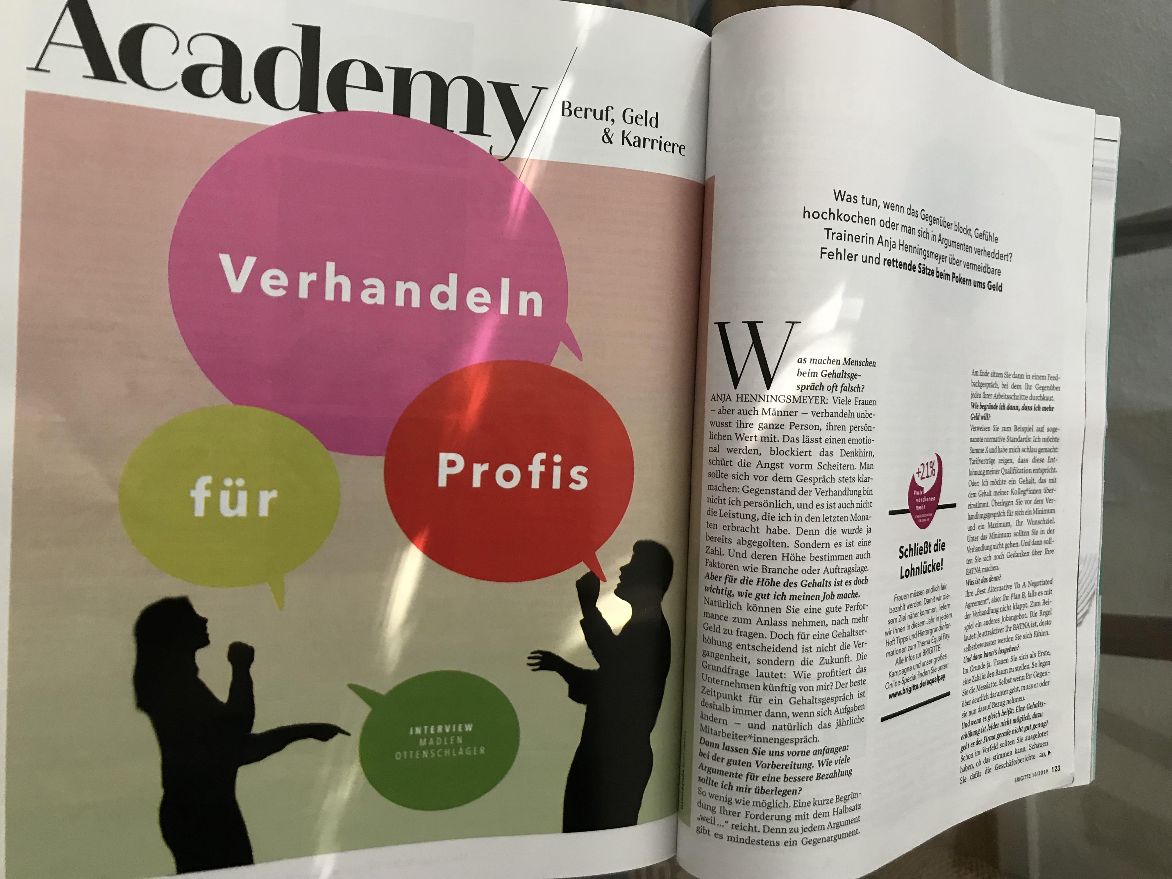 Artikel von Anja Henningsmeyer in der Frauenzeitschrift Brigitte Juli 2019