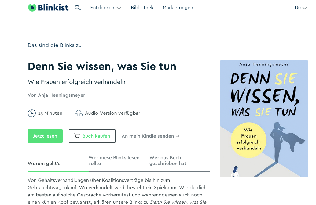 Zusammenfassung des Verhandlungsratgebers von Anja Henningsmeyer auf Blinkist