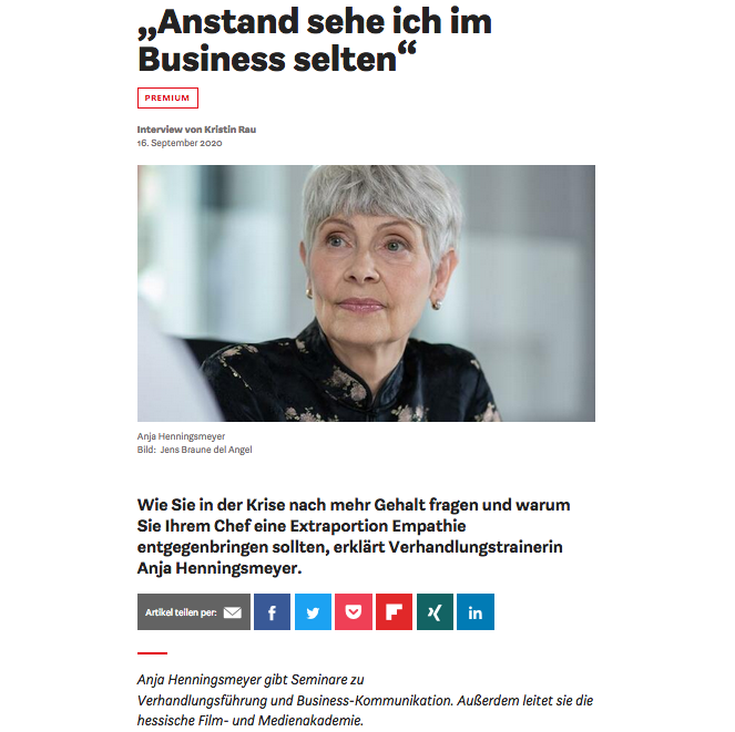 Interview in der Wirtschaftswoche 2020 mit Anja Henningsmeyer