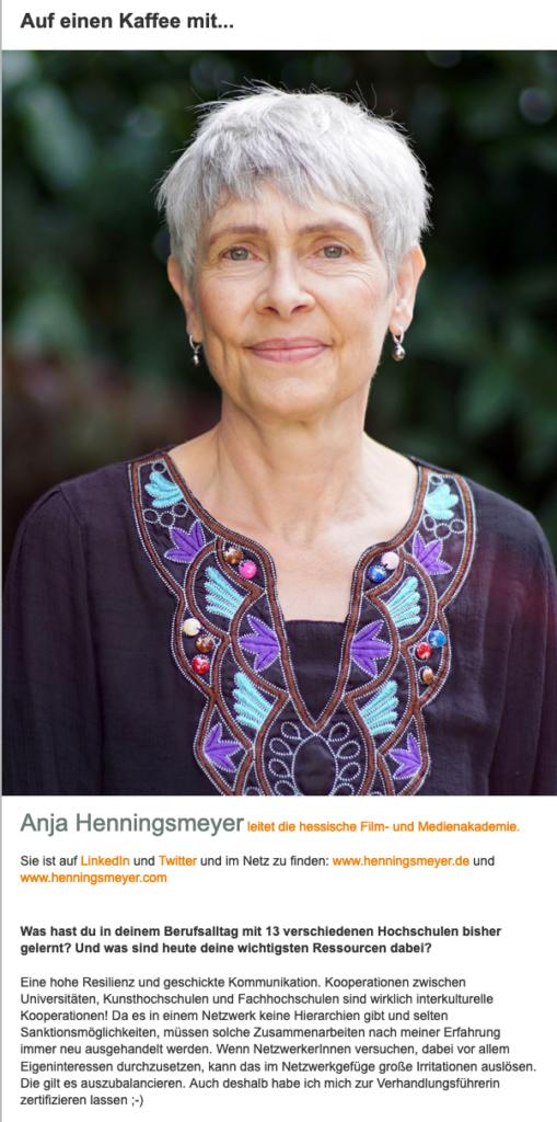 Interview beim Netzwerk Wissenschaftsmanagement 2020 mit Anja Henningsmeyer. Das ganze Interview gibt es mit einem Klick hier